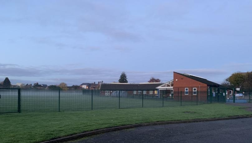 school misty morning
